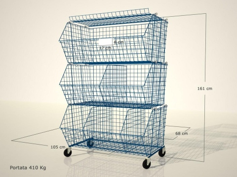 wire containers on wheels